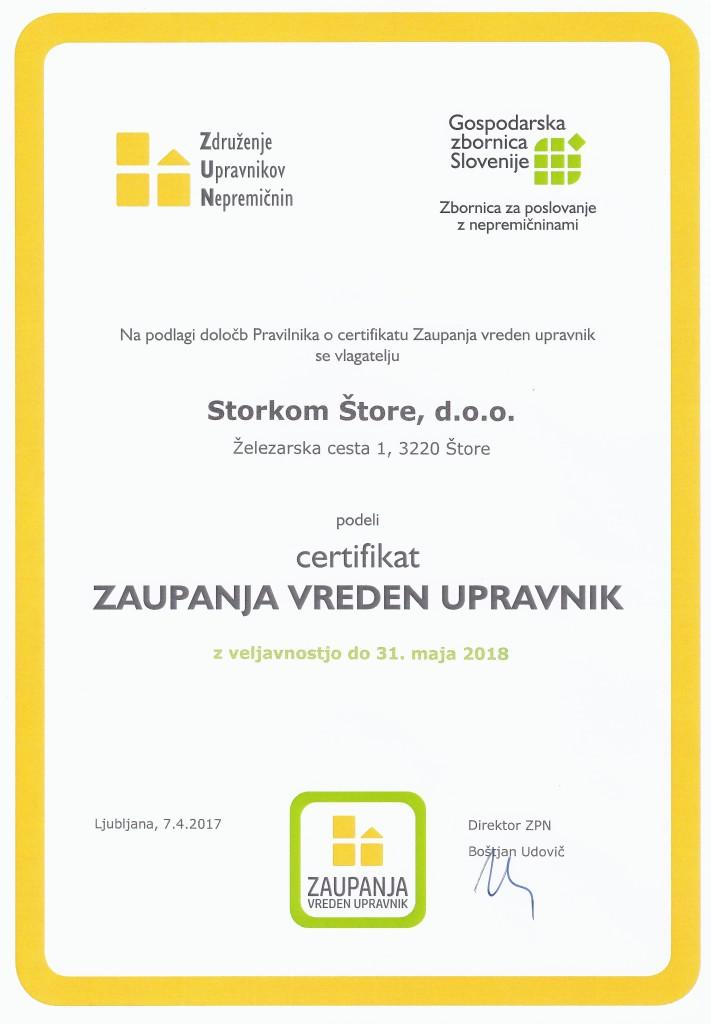 certifikat - zaupanja vreden upravnik